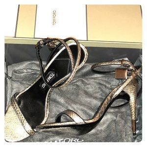 TOM FORD Python strap heels with lock and key